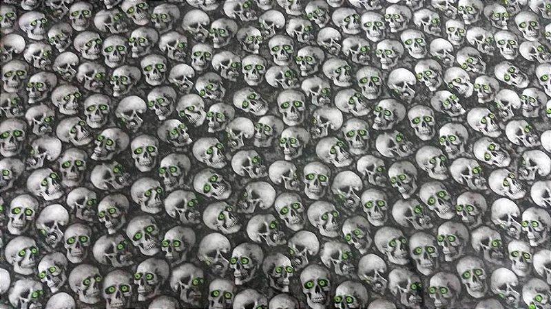 pelicula para water transfer printing modelo  cranios com olhos verdes tamanho 1mts x 50cm de largura