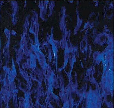 pelicula para water transfer printing modelo chamas  azul  tamanho 1mts x 50 cm de largura