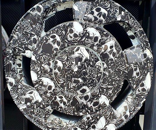 pelicula para water transfer printing modelo  caveiras com rosas tamanho 1mts x 50 cmts de largura