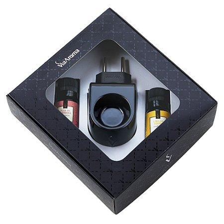 Kit Presente Aromatizador Standard Black e Essências - Flor de Cerejeira e Lima da Pérsia