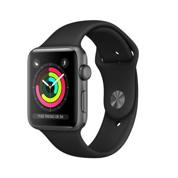 Apple Watch Series 3 38mm Caixa Cinza Espacial de Alumínio com Pulseira Esportiva Preta