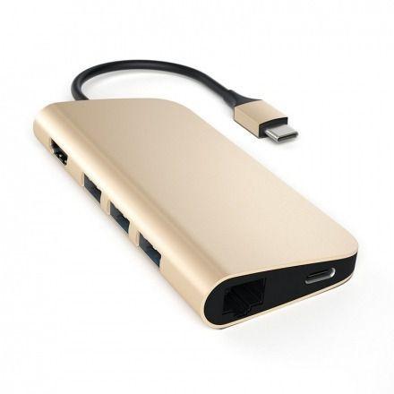 Adaptador Multi-port USB-C 4k Satechi C/ Ethernet Dourado