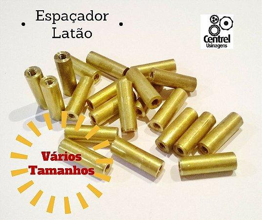 """Espaçador redondo latão - 3/16"""" (4,7mm) - Fêmea/Fêmea - Rosca M2 - 4,2mm"""