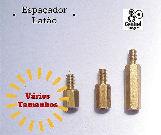 """Espaçador sextavado latão - 3/16"""" (4,7mm) - Macho/Fêmea - Rosca M3 - 11mm"""