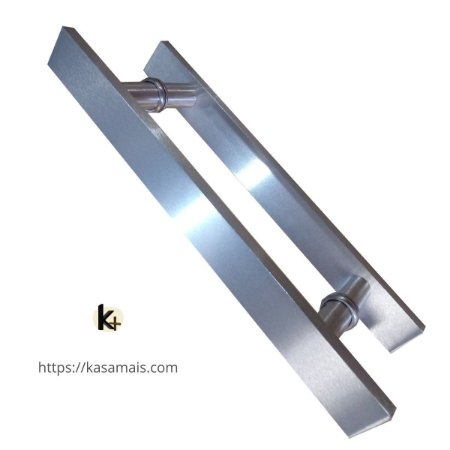 Puxador Porta 40cm total x 30cm entre furos Plano Escovado