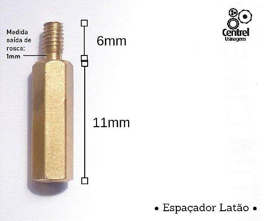 """Espaçador sextavado latão - 1/4"""" (6,35mm) - Macho/Fêmea - Rosca M3 - 11mm"""