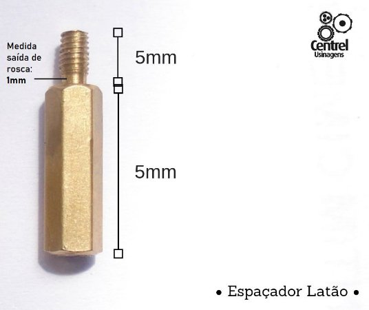"""Espaçador sextavado latão - 1/4"""" (6,35mm) - Macho/Fêmea - Rosca M3 - 5mm"""