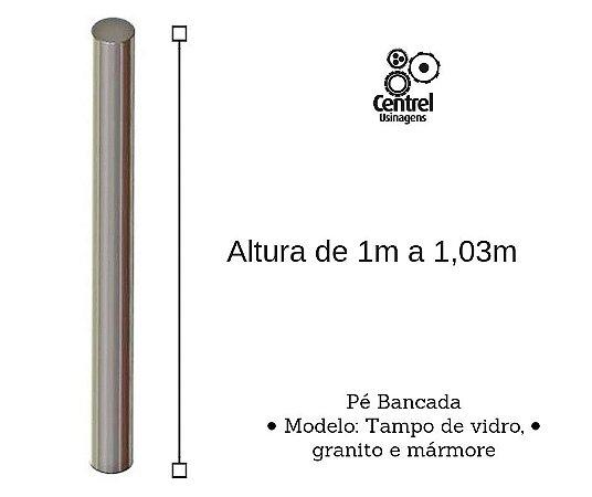 Pé para mesa modelo bancada - Regulagem Altura de 1m a 1,03m - Alumínio Brilhante - Para Tampo de Vidro, Granito e Mármore