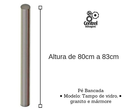 Pé para mesa modelo bancada - Regulagem Altura de 80cm a 83cm - Alumínio Brilhante - Para Tampo de Vidro, Granito e Mármore