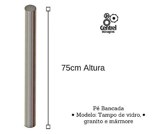 Pé para mesa modelo bancada - Altura 75cm - Alumínio Brilhante - Para Tampo de Vidro, Granito e Mármore