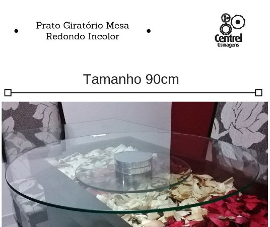Prato Giratório Mesa 90cm Vidro Incolor Redondo