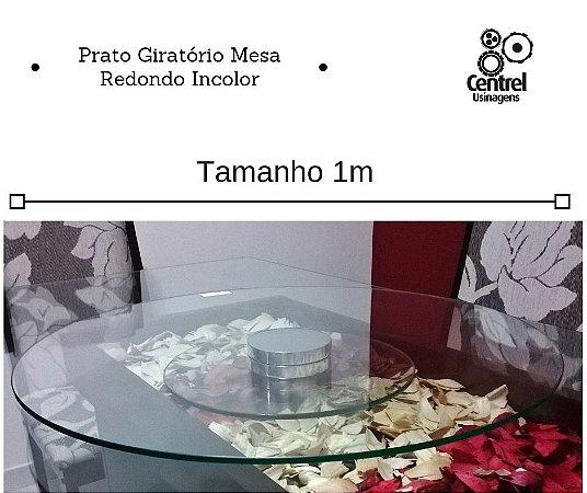 Prato Giratório Mesa 1m Vidro Incolor Redondo