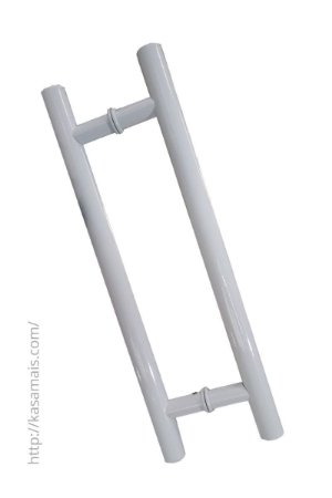 Puxador Porta 40cm total x 30cm entre furos Tubular H Branco