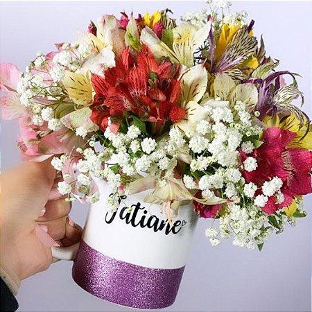 Caneca Floral Faixa Glitter