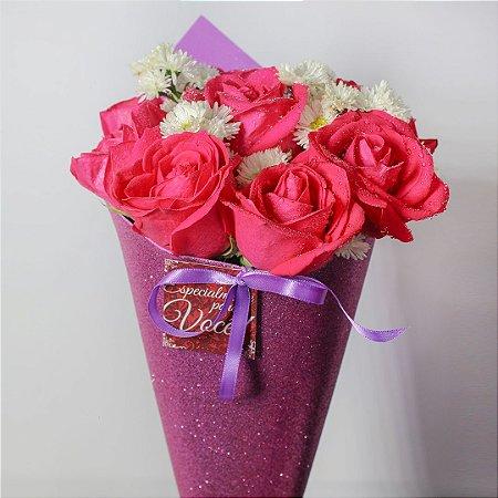 Buquê Shine de Rosas rosa