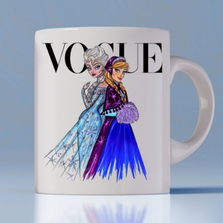 Caneca Vogue Princess Anna e Elsa