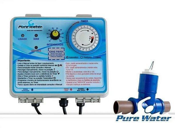 Ionizador Purewater Ag 25 AG+ - Tratamento Automático De Piscinas Sem Cloro Até 25 Mil Litros