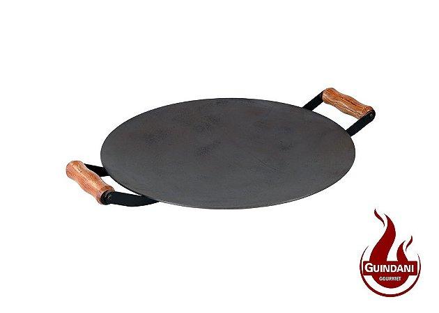 Assadeira Redonda (Disco de Arado) de 34 cm em Aço Carbono Natural com Alça