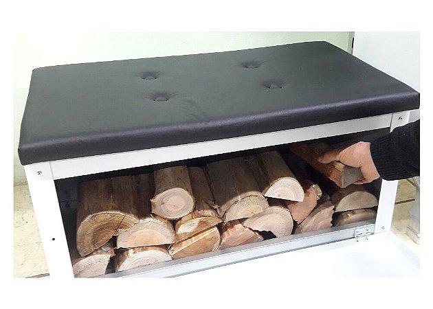 Caixa para Lenha N 1 (Branca ou Preta) em Aço Carbono Pintado Com Assento Estofado - GCX1A