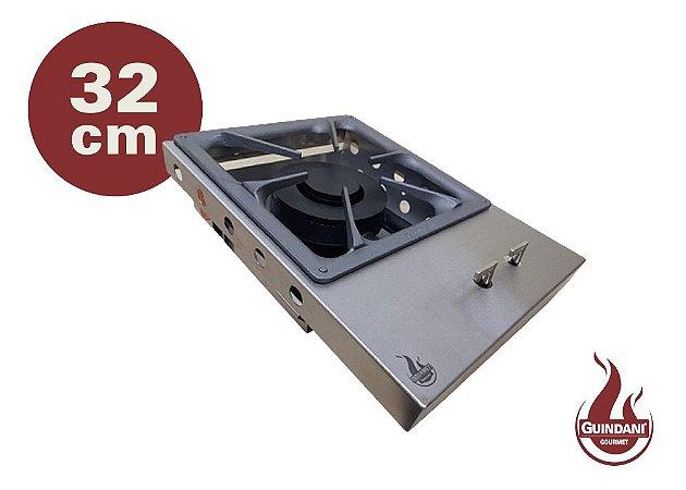 Bifeteira de Embutir a Gás Estilo Cooktop em Inox 430 Escovado 32 cm Queimador Industrial Duplo