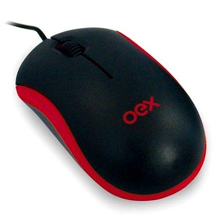 Mouse Óptico Standard Mini MS103 Preto e Vermelho - Oex