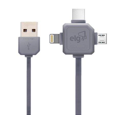 Cabo Flat 3 em 1: Lightning + USB Tipo-C + Micro USB PW31C - Elg