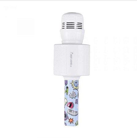 Microfone Bluetooth Teen Star Rosa MK301 Branco - Oex