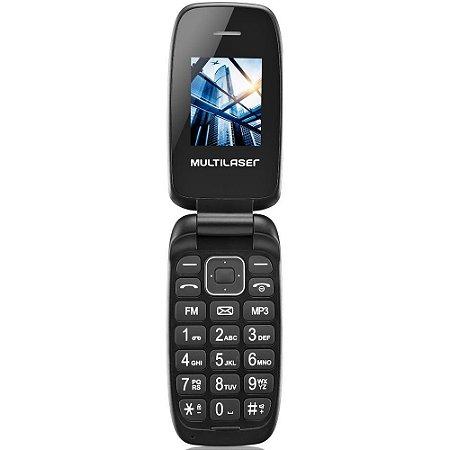 Celular Flip Up Dual Chip MP3 Rádio FM Bluetooth P9022 Preto - Multilaser