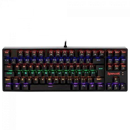 Teclado Gamer Mecânico Redragon Daksa Rainbow Switch Brown K576R-1 Preto - Redragon