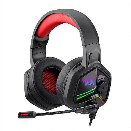 Headset Gamer Ajax Com Microfone 53mm Led Rgb H230 Preto - Redragon