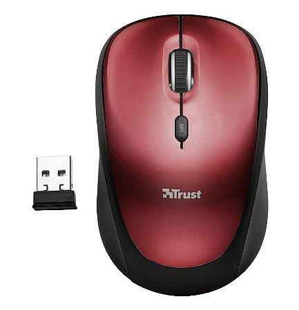 Mouse Wireless YVI 1600dpi Micro Usb - 19522 - Vermelho- Trust