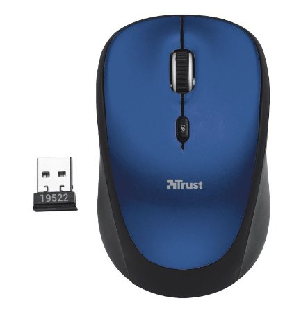 Mouse Wireless YVI 1600dpi Micro Usb - 19663 - Azul - Trust
