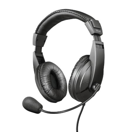 Headset Quasar 40mm Com Microfone Flexível Preto - 21661 - Trust