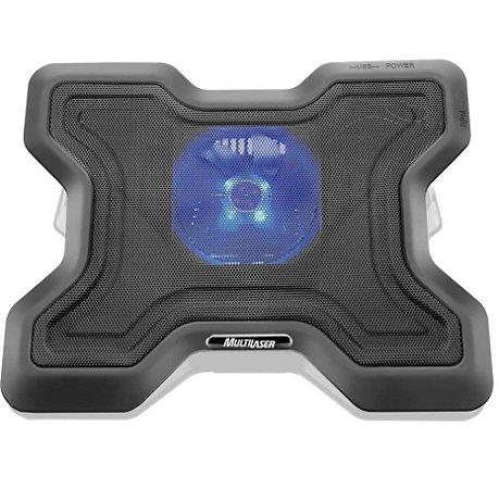 Base para Notebook Ergonômico com Led Azul 1 Cooler e Porta Usb AC123 Preto - Multilaser