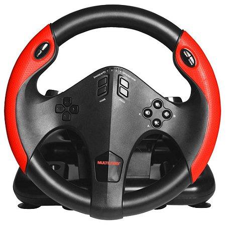 Volante Gamer Multilaser com Marcha e Pedal Multiplataforma PS4, PS3, Xbox One, PC JS087 - Multilaser