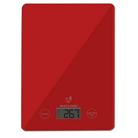 Balança de Cozinha Digital, com Display LCD Touch, Até 5KG, Vermelha - CE118 - Multilaser