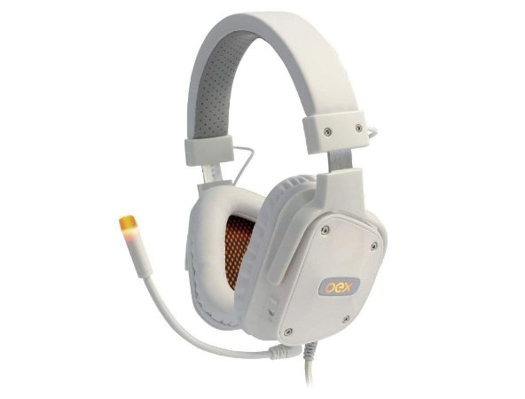Headset Gamer Oex Game Shield Led Surround Drivers 40mm HS409 Branco - Oex
