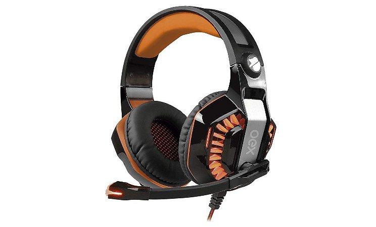 Headset Gamer Beast HS404 Led Usb Preto Com Laranja - Oex