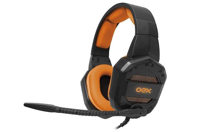 Headset Gamer Conquest HS406 Preto e Laranja - Oex
