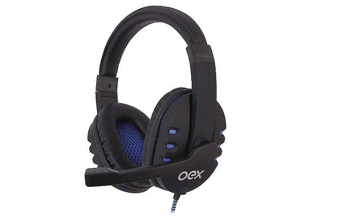 Headset Bit HS206 Usb Preto e Azul - Oex
