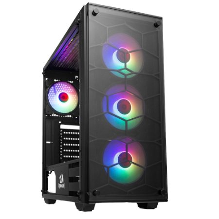 Gabinete Gamer Redragon Wheeljack 4 Fans RGB Lateral e Frontal Vidro Preto GC-606BK-RGB - Redragon