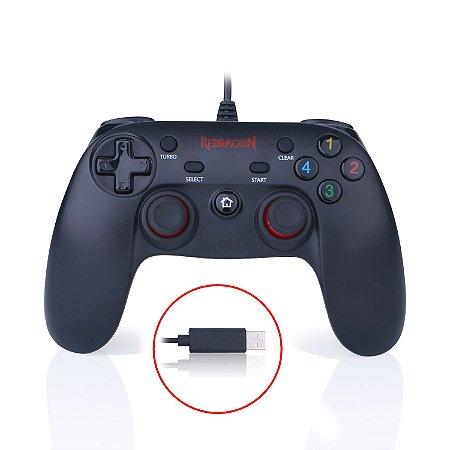 Controle para PC e PS3 Redragon Saturn G807, Vibração, Modo Turbo - Redragon