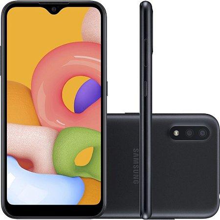 """Smartphone Samsung Galaxy A01 32Gb Câmera Dupla 13MP Tela Infinita 5.7"""" Preto SM-A015 - Samsung"""