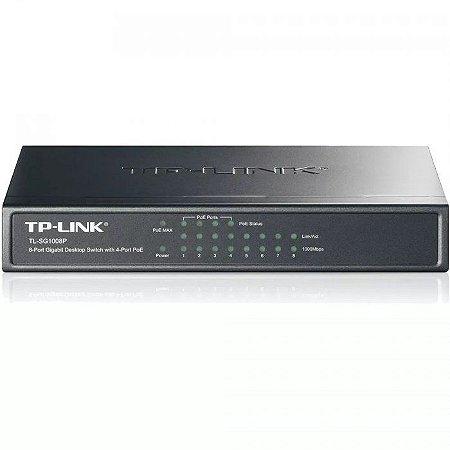 Switch TP-Link TL-SG1008P 08 portas Gigabit Com 4 Portas POE - TP-Link