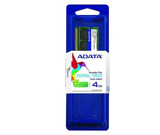 Memória Adata para Notebook 4Gb Ddr3l 1600Mhz ADDS1600W4G11-S - Adata