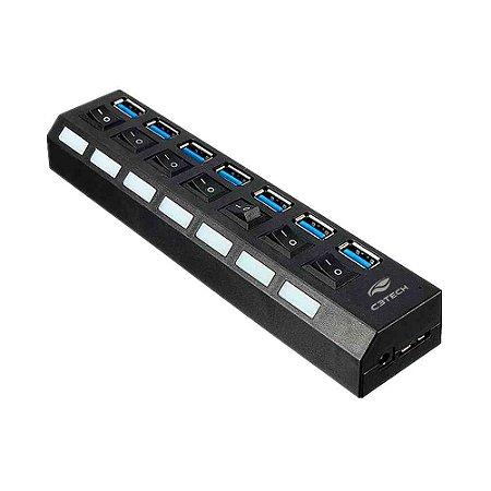 Hub USB 3.0 C3Tech 7 Portas Com Chave HU-S370BK - C3Tech
