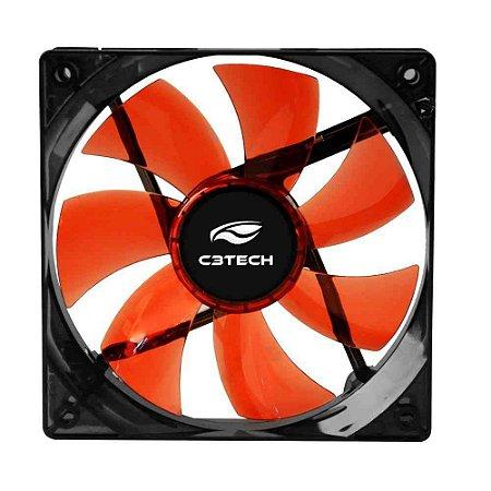 Cooler Fan C3Tech Storm F7-L100RD, 12CM LED Vermelho - C3Tech