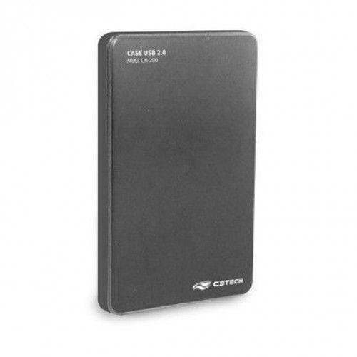 """Gaveta Case pra HD externo 2,5"""" USB 2.0 CH-200GY Cinza - C3TECH"""