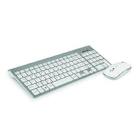 Kit Teclado e Mouse Sem Fio K-W510SWH Cinza/ Branco - C3Tech