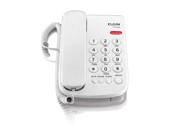 Telefone com Fio de Mesa TCF2000B Branco - Elgin